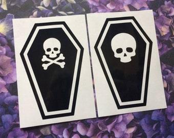 Choice of Skull Coffin vinyl decals - Car decal, Laptop sticker, Spooky, Goth, Creepy, Macabre, Horror, Gothabilly, Deathrock, Gothic