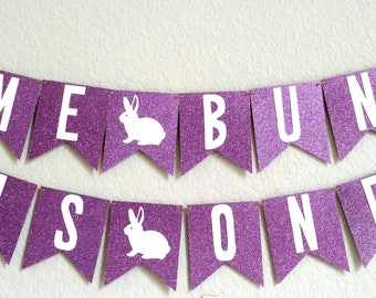 Some Bunny is One, Bunny Birthday Banner, Easter Birthday Banner, First Birthday Banner, birthday party decorations, Lilac Purple, assembled