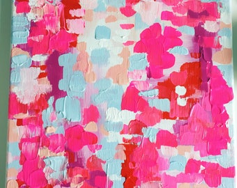 PINK + BLUE PAINTING. bright pinks + light blue + white + hints of red + magenta + blush. canvas painting. decor. bright.