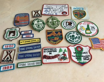 Group of 23 Vintage 1980s 1990s Camping Souvenir Patches