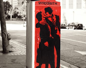 Kissing couple in Red, Graffiti sign Los Angeles