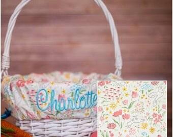Easter basket liner etsy personalized easter basket liner easter basket liner bunny easter basket liner personalized basket negle Image collections