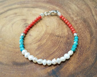 Freshwater Pearl and Coral Bracelet with Turquoise Beads
