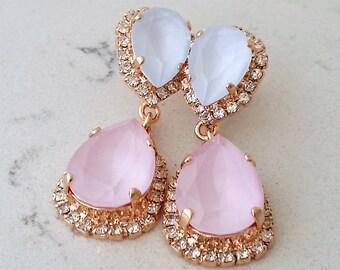 Blue pink earrings,Bridal earrings,Blue opal chandelier earrings,Wedding earrings,Bridal earrings,Vintage earrings,Swarovski ,Bridal jewelry