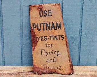 Vintage Putnam Tints Sign - Vintage Paint Sign - Vintage Advertising Sign