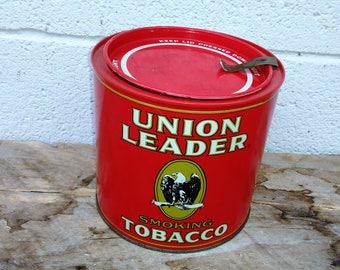 Vintage Tobacco Tin - Union Leader Smoking Tobacco Tin - Red Tin - Collectible Tin - Eagle
