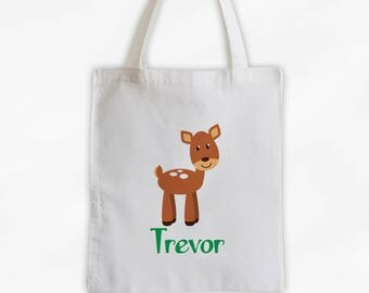 Personalized Deer Canvas Tote Bag - Forest Animal Custom Travel Overnight Bag - Reusable Tote (3042)