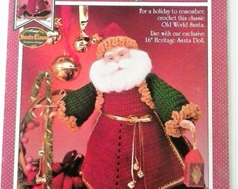 Olde Tyme Santa Crochet Doll Pattern by Fibre Craft - 1995