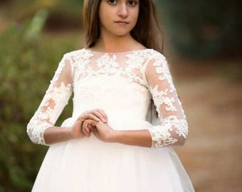 Long sleeve flower girl dress with v back and big bow LS034