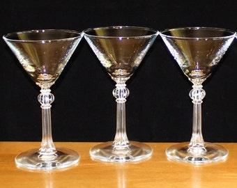 Beautiful, Set of 3, Vintage Martini Glasses, Plain Bowl, Fluted, Knob Stem