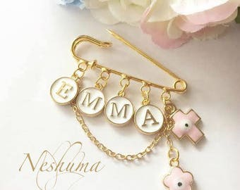 Baby Name Personalized Baptism Gift, Christian Baby Gift, Christening Gift, Baby Pin, Stroller Pin