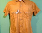 Vintage 70s Mens Pearl Snap Western Shirt Size Small Boho Hipster