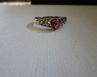 Sterling Silver Small Pink Heart Ring with Flowers on Band