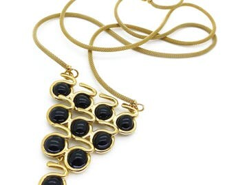 Contemporary Gripoix Black Poured Glass Snake Gold Plated Necklace