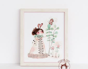 Awakening - Nursery Decor - Baby Girl Decor - Butterfly & Girl - Nature -Whimsical, Dreamy, Enchanting, Magical Fine Art print illustration