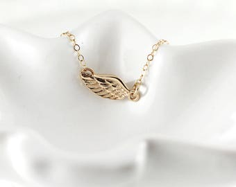 Gold angel wing necklace - 14K gold filled - Dainty gold necklace - Memorial necklace - Petite angel wing necklace - Feather necklace