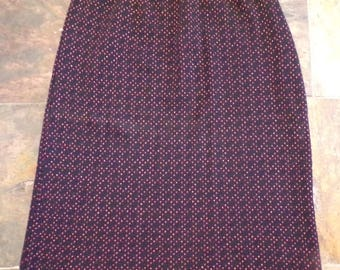 vintage 1980's SWEATER PENCIL SKIRT knit black pink S M