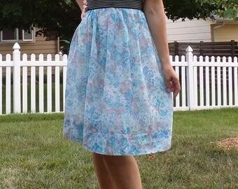 hayes VINTAGE SHEER floral DRESS L 50's 60's 32 waist