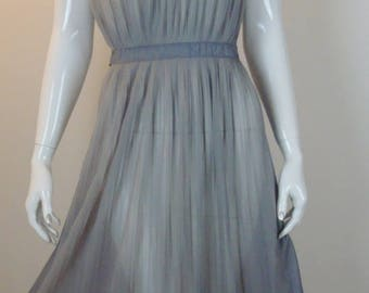 1950's Gray Sheer Accordion Pleat Night Gown - Ribbon Tie Back -Small