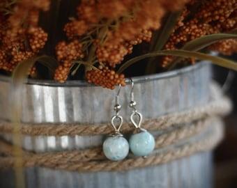 Larimar Silver Earrings // blue drop dangle earrings // garden gypsy collective