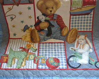 """Vintage Teddy Bears toys Cotton Baby Blanket Nursery hand made quilted 43""""x 35"""" New handmade sail boats blanket baby shower nursery blanket"""