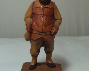 Vintage ANRI Carved Figure Man Merchant Italy