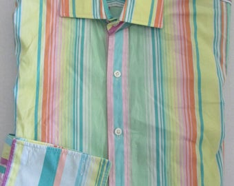 Vintage Ralph Lauren Dress Shirt French Cuff Multicolor Striped Size 6