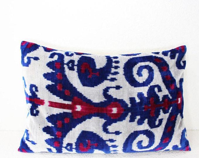 Silk Velvet Ikat Pillow Cover Lp411, Bohemian pillow, Velvet Ikat Pillow, Velvet Pillow, Velvet Pillow Cover, Ikat Pillows, Throw Pillows