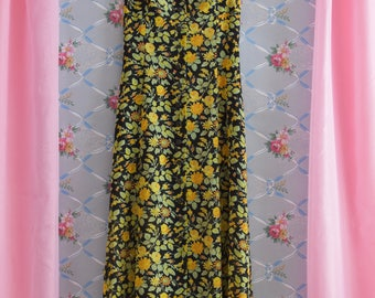 90s Floral Dress Below the Knee Yellow Flowers Size XS Small