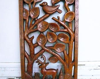 Hand Carved Wood from 1932, Antique Wood Sculpture Filigree Ornate Solid Wood Filigree Wall Decor, Animal and Trees Wood Carving W/ Lacquer.