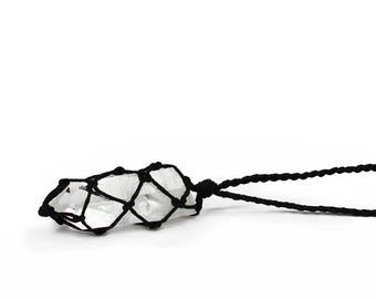 Raw Quartz Necklace, Clear Quartz Necklace, Healing Crystal Jewelry, Arkansas Quartz, Striated Quartz, Lemurian Quartz Necklace