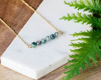 Delicate gemstone bar gold necklace | Simple dainty thin gold plated layering necklace | Gifts for her under 20 | Green Jasper stone bar |