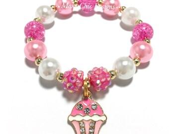 Toddler or Girls Small Beaded Cupcake Charm Bracelet - Girls Pink and White Birthday Bracelet - Pink and Gold Bracelet - Cupcake Bracelet