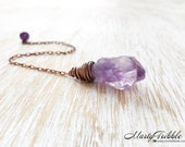 Raw Amethyst Crystal Pendulum, Amethyst Point, Copper Pendulum, Wicca, Reiki, Healing, Scrying, Dowsing, Divination, Fortune Telling, Wiccan
