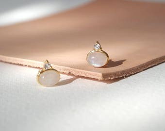 Orb Earstuds - Moonstone Earrings, Bridesmaids Gift, Gifts for Her