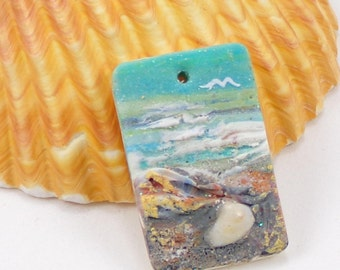 StudioStJames Handcrafted Polymer Clay 20x30mm Small Focal-Ocean Beach Scene with Seashells-Aqua Blue Bead-PA 100613