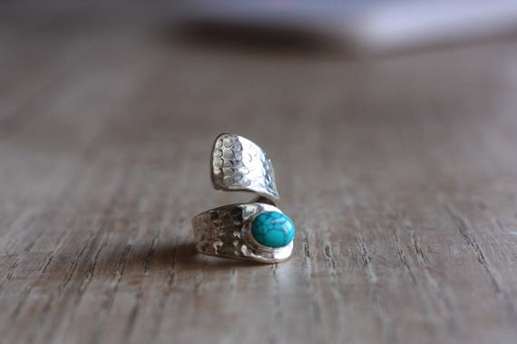 OXIDISED TURQUOISE RING - 925 Ring - Sterling Silver Ring - Turquoise - Gemstone - Gift - Oxidised Ring - Bespoke - Wrap - Valentines Gift