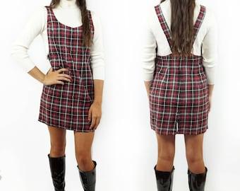 Clueless Plaid 90s Jumper Dress, Schoolgirl Plaid Mini Dress, 90s Grunge Uniform, Women's Size Medium