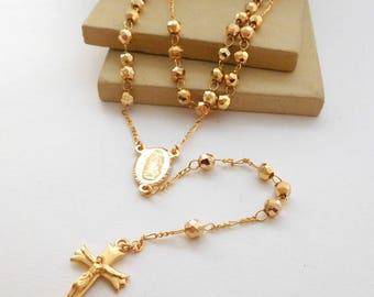 Retro Yellow Gold Tone Catholic Rosary Necklace E20