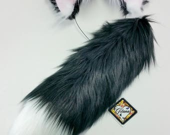 NEW! Realistic Black and White Cat Ears and Tail Set-Cat Ear headband-Fluffy Ears- Playpen- Cat Costume-Halloween-Realistic Ears- Faux Fur
