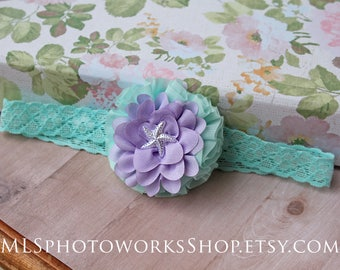 Baby Mermaid Lavender & Aqua Headband with Little Starfish - Little Girl's Mermaid Flower Headband