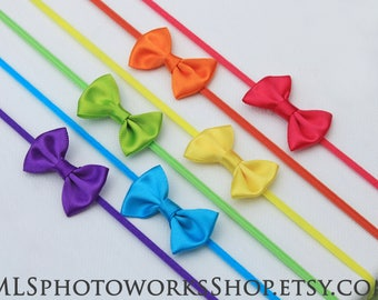 Tiny Rainbow Headbands for Baby Girl - 6-Pack Gift Set of Satin Rainbow Bows Perfect for Preemies & Newborns