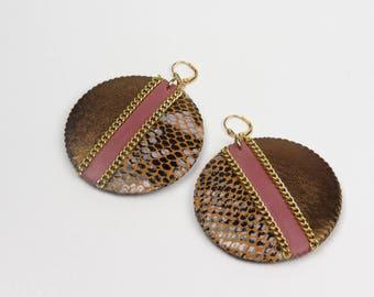 Circle Earrings, Ethnic Earrings, Leather Earrings, Animal Print Earrings, Statement Earrings, Big Circle Earrings, Fashion Earrings