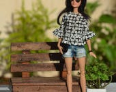 Aimee Summer Top for Fashion Royalty, Barbie Made to Move, Poppy Parker and other similar 1:6 scale dolls