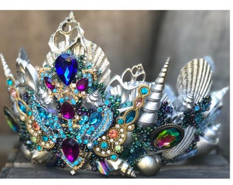 Mermaid Costume, Mermaid Crown, Mermaid Cosplay, Seashell Crown, Sea Shell Crown, Mermaid Headpiece, Crowns and Tiaras, Siren, Gifts For her