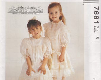 Girl's Old Fashioned Dress Pattern McCalls 7681 Size 8 Uncut