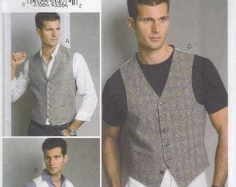 Men's Vest Pattern Vogue 8887 Sizes 40 - 46 Uncut