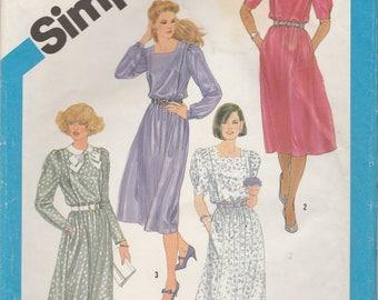 Easy 80s Dress Pattern Simplicity 6489 Size 12 Uncut