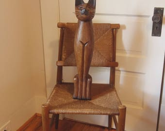 Large Wood  Cat Statue, Mid Century Wooden Siamese Cat Sculpture, 25 Inches, Kitsch