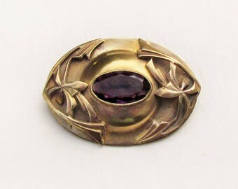Antique Art Nouveau sash pin with amethyst glass stone, c.1900 brooch with purple glass stone